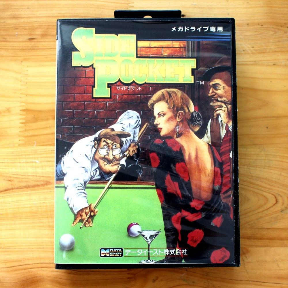 Side Pocket 16 Bit SEGA MD Game Card With Retail Box For Sega Mega Drive For Genesis