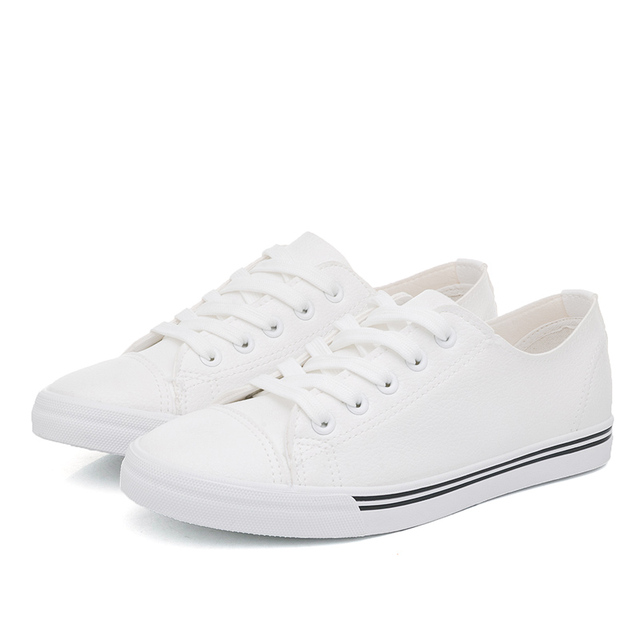 2017 fashion genuine leather casual white women shoes classic lace vulcanize shoes low flat spring heave Wear rubber shoe