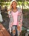 2017 Última moda Mujeres Cardigan Rosa Largas Rebecas Poncho Sin Cuello Manga Larga Lrregular Impreso Casual Encogimiento de hombros de la Chaqueta Abrigos