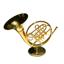 MoonEmbassy French Horn Model Musical Instrument Miniature Desk Decor Display Realistic Music Lover Birthday Gift