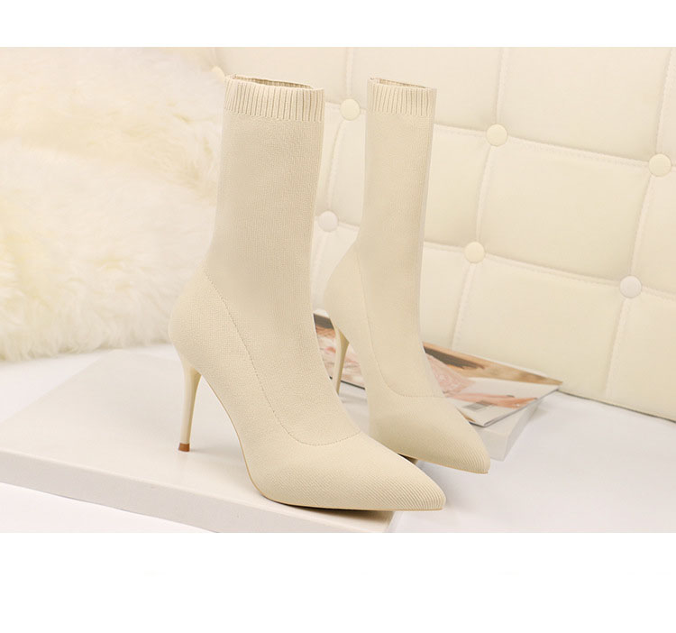 white sock boots peep toe