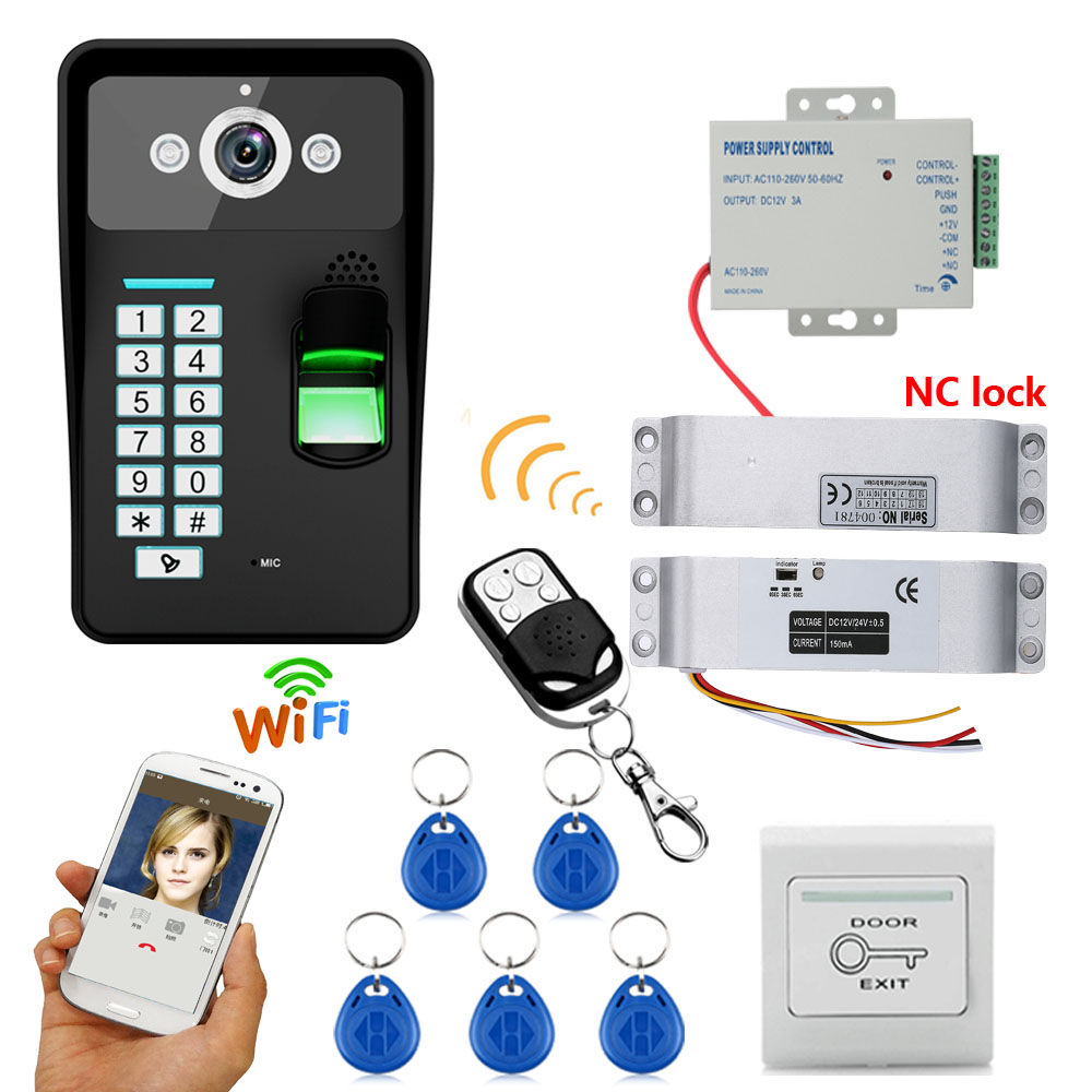HD 720P Wireless WIFI RFID Password Video Door Phone Doorbell Intercom System Night Vision + Electric Drop Bolt Lock