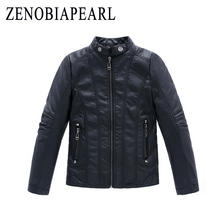 Boys Coat 2020 New PU Leather Black Thick Kids Casual Jacket