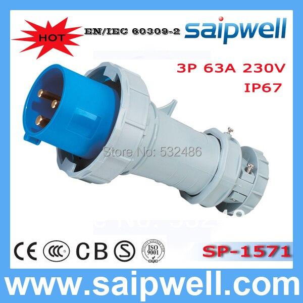 HOT Sale IP67 63A industrial plug electric multi plug socket with CEE/IEC 63a 3pin 220 240v industrial waterproof concealed appliance plug waterproof grade ip67 sf 633