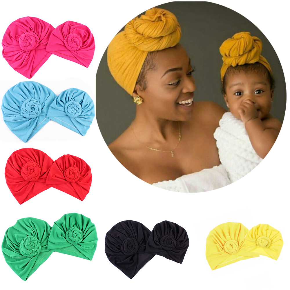 Mom And Baby Solid Donut Hats BeBe Warm Turban Hood Solid Knotted Cap Cotton Cute Snails Hats Newborn Baby Indian Knot Turban