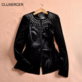 CLUXERCER Brand Blazer Women Long Sleeve Diamonds Slim Velvet Suit Jacket Ladies Work Single Button Velour Blazers Feminino