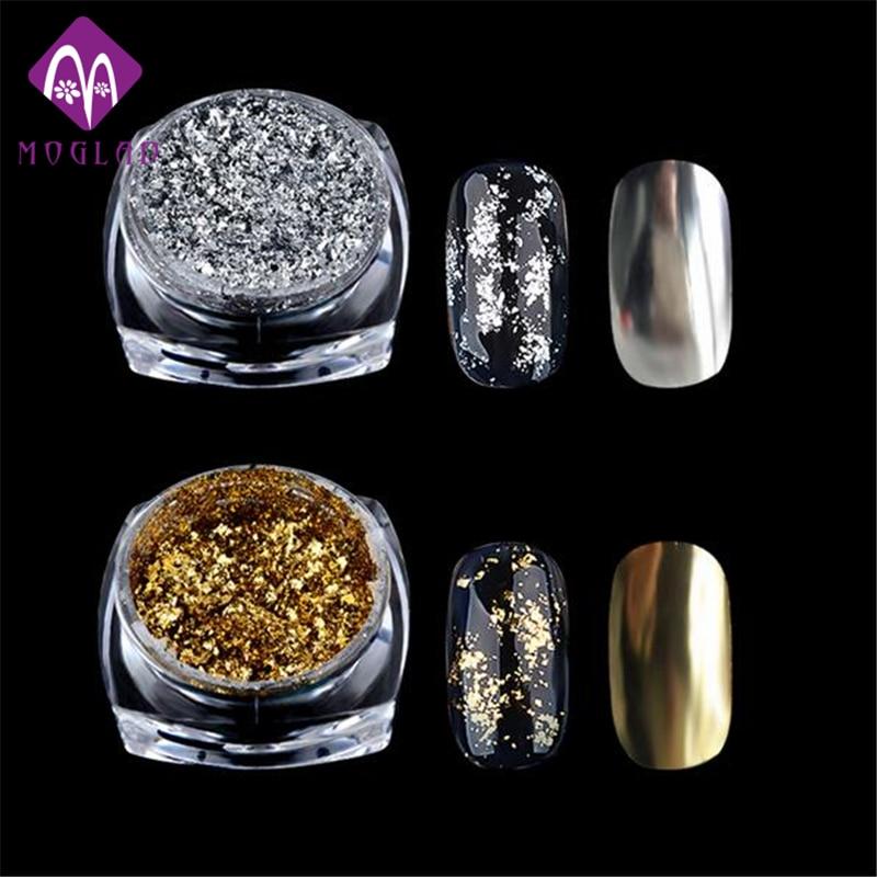1 Box Gold Silver Glitter Aluminium Flakes Magic Mirror Effektpulver - Nagel konst