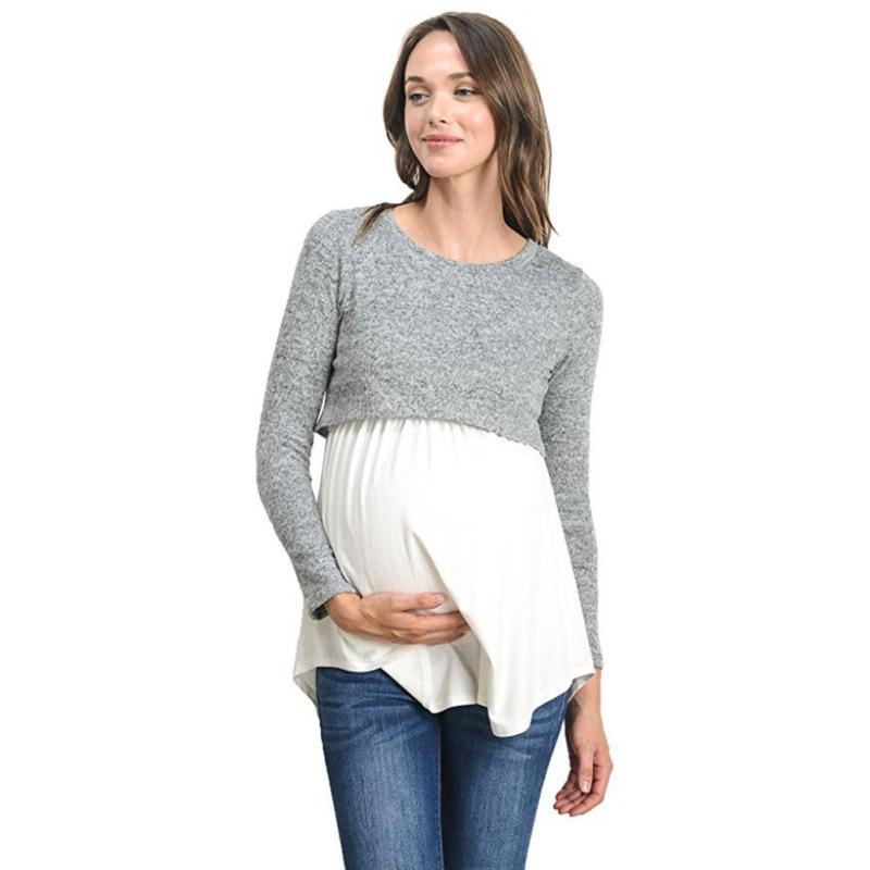 2018 Cotton Nursing Clothes T-shirt Patchwork Breastfeeding Nursing Clothes Breathable Maternity Nursing Tops Q1