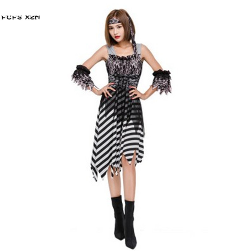 Sexy Woman Halloween Pirate Costumes For Girls Female Warrior Cosplays Christmas Purim Carnival Masquerade Role play party dress