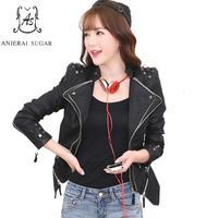 Autumn PU Leather jacket Women coat Black sexy Mandarin Collar rivet Short Slim zipper motorcycle plus size female Faux Leather