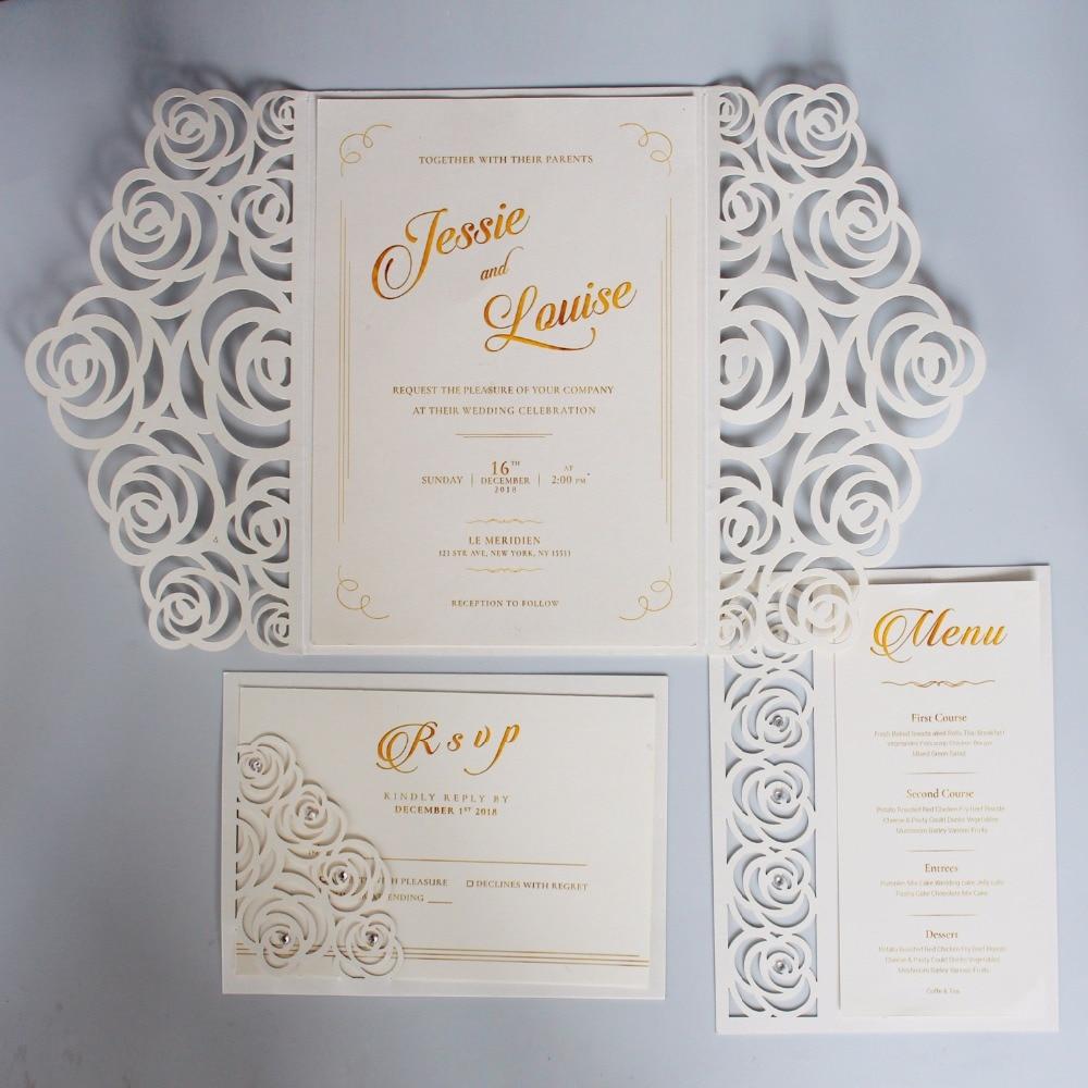 Elegant Wedding Invitation Templates: Off White Wedding Invitations Set Laser Cutting Invitation