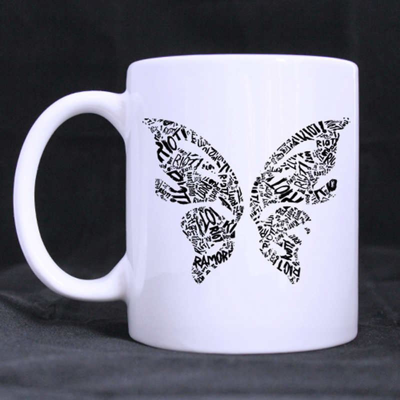 Butterfly Custom Design Coffee Mugs Beer Mug White Ceramic