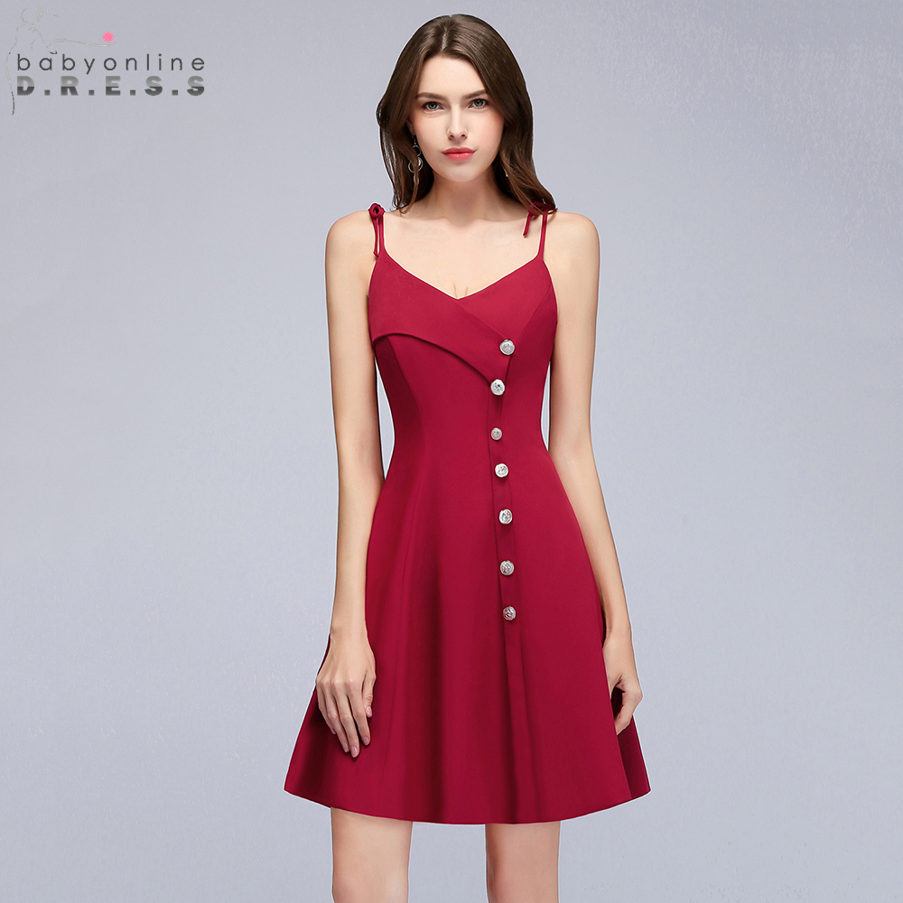 Babyonline Spaghetti Straps Burgundy   Cocktail     Dresses   2019 Buttons Mini   Dress   Party   Dress   Sexy Backless robe de   cocktail