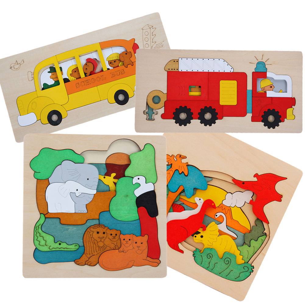 1 Set Wooden Puzzle Toys Kids Dinosau Animal Transport Multi-dimensional 3D Jigsaw Wooden Learning Puzzle Children Gift Toy baby toys new cartoon 3d jigsaw puzzle building toys for children wooden traffic animal design kids toy