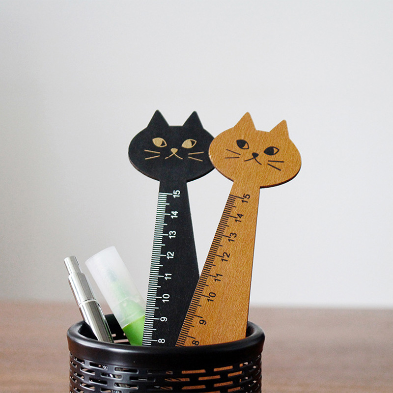 Cute Cat Ruler 1pc Brown Black Straight Ruler Wooden Drawing Tools Office Accessories School Escolar Kids Study Supplies