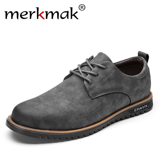 Merkmak Brand Design Microfiber Leather Mens Leisure Shoes Retro Fashion Casual Flat Shoes for Man Business Office Suit Footwear