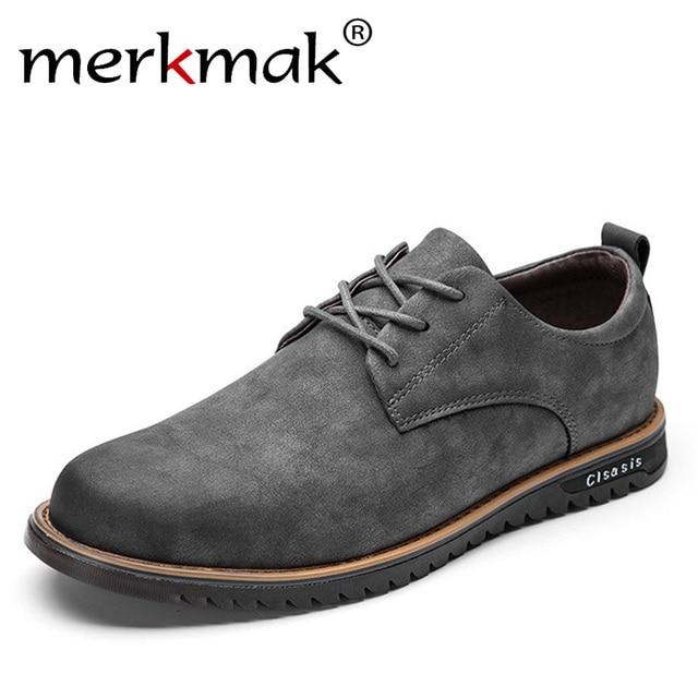 Merkmak Marke Design Mikrofaser Leder Herren Freizeit Schuhe Retro Fashion  Casual Flache Schuhe für Mann Business 47aa784fb5