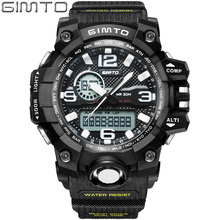 GIMTO Men Sports Analog Digital Watch Dual Display Quartz Wristwatches Military Clock Outdoor Shock Reloj Hombre Montre Homme