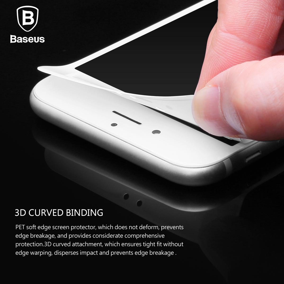 best sneakers 703a4 f17f5 US $3.87 37% OFF|Baseus 0.23MM Screen Protector Tempered Glass For iPhone 8  7 6 6s Plus Soft 3D Curved Full Cover Protective Toughened Glass Film-in ...