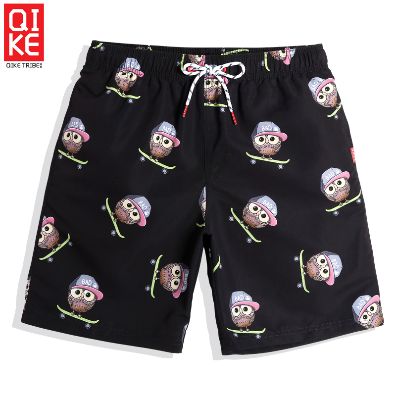 Summer Men's cartoon beach   shorts   sexy liner swimwear bathing suit loose surf joggers plavky   board     shorts   mesh