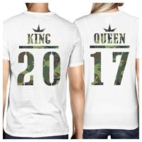 2019 Hot Sale 100% cotton King And Queen Military Pattern Custom Matching Couple White Shirts Tee shirt