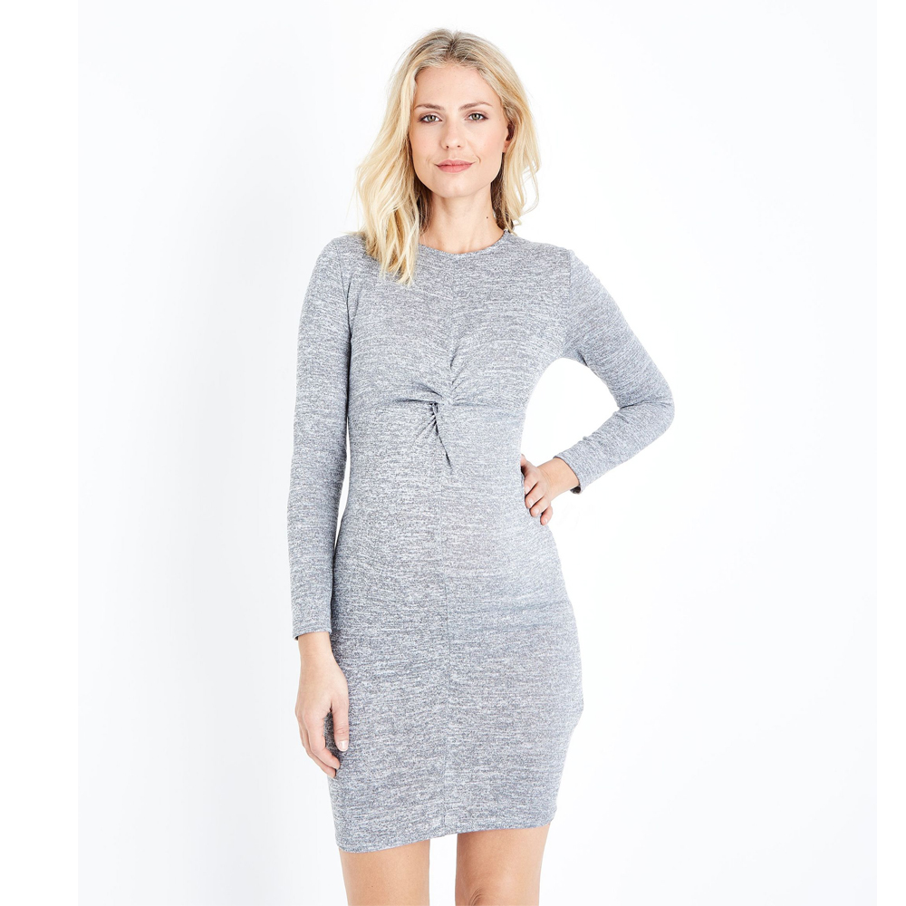 Long Sleeve Maternity Bottoming Dress Grey Fine Knit Twist Front Bodycon Dresses for Pregnant Women Spring Autumn Mommy Clothes contrast stripe twist front shirt dress