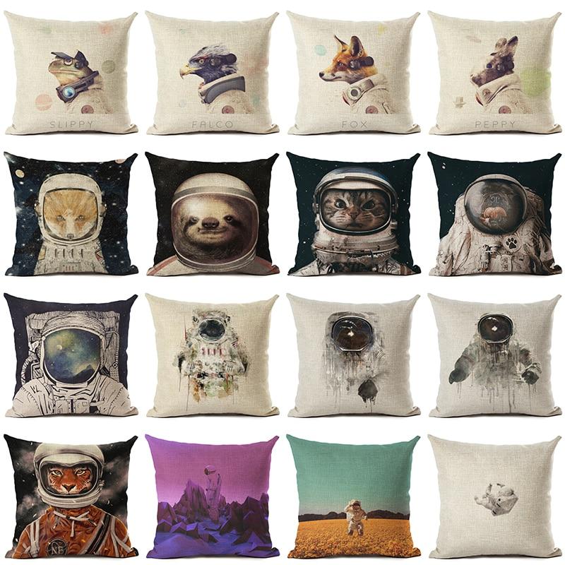 Nuevo llega Starry Sky Style Animal Astronautas Lino Algodón - Textiles para el hogar