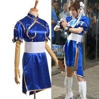 Game Street Fighter Chun Li Blue Dress Cosplay Costume