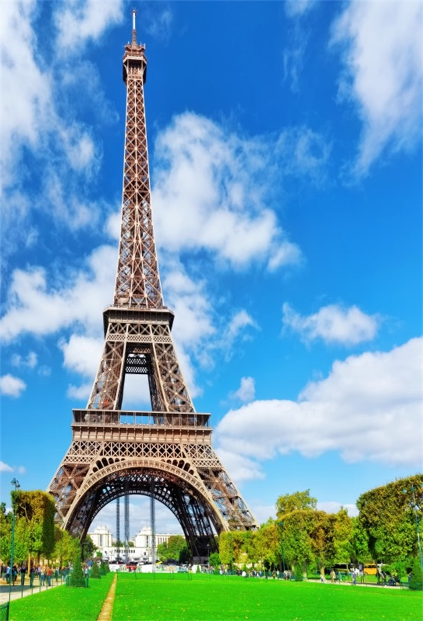 Camera Girl Photography Wallpaper Laeacco Blue Sky Eiffel Tower Paris Scenery Portrait Baby