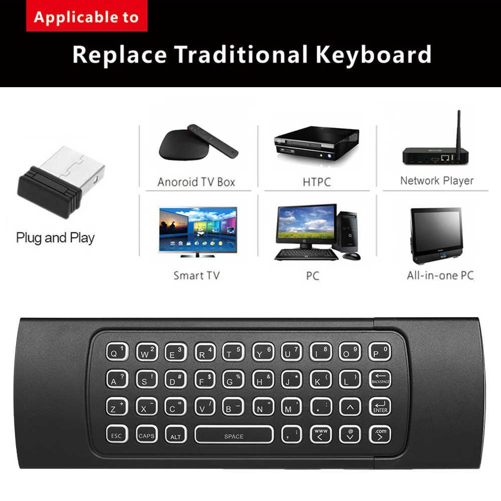 2,4 г AirMouse Беспроводной клавиатура с Подсветка 6-осный датчик движения дистанционного Управление ИК-обучения для мини-компьютер Smart Android ТВ коробка