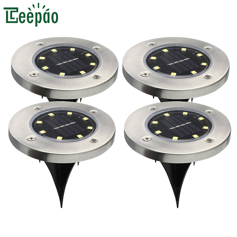 4pcs/lot 8 LED Solar Light Waterproof Outdoor LED Garden Lawn Light Solar Power Yard Sta ...