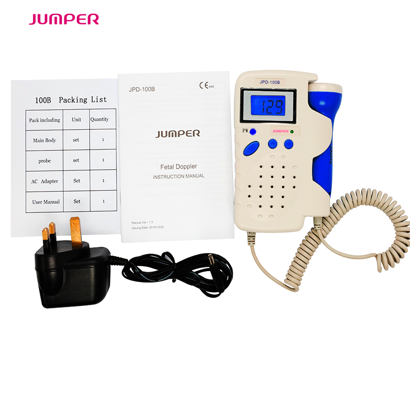 JUMPER Handheld Prenatal Fetal Doppler LCD Screen FHR Baby Heart Rate Monitor Heartbeat Sound Amplifier Probe CE FDA Approved handheld pocket fetal doppler baby heart rate monitor lcd screen sonoline c 2 3m blood flow vascular probe home use pink color