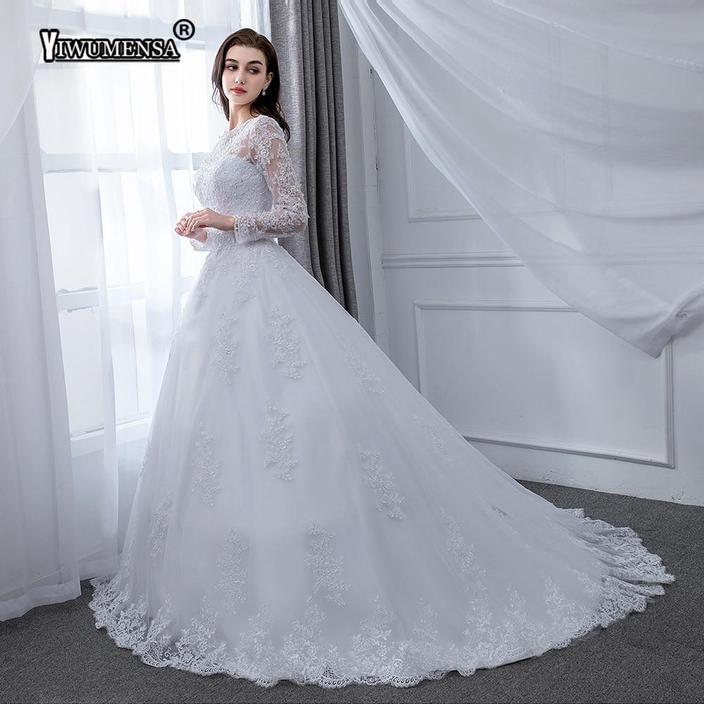 Robe De Mariage Lace A Line Bridal Gowns White Long Sleeves Dress Wedding Vestidos De Novia 2018 Luxury Dresses Custom Made