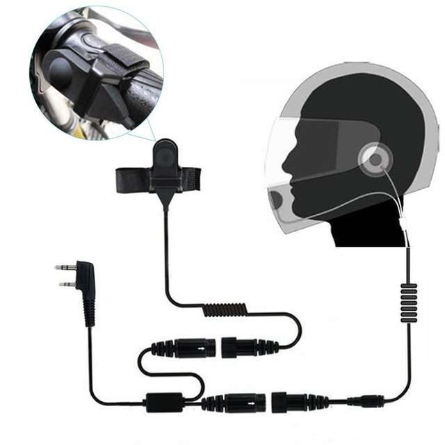 ONLENY 2 PIN Helmet Portable Motorcycle Race Contact Headset Earpiece For Kenwood