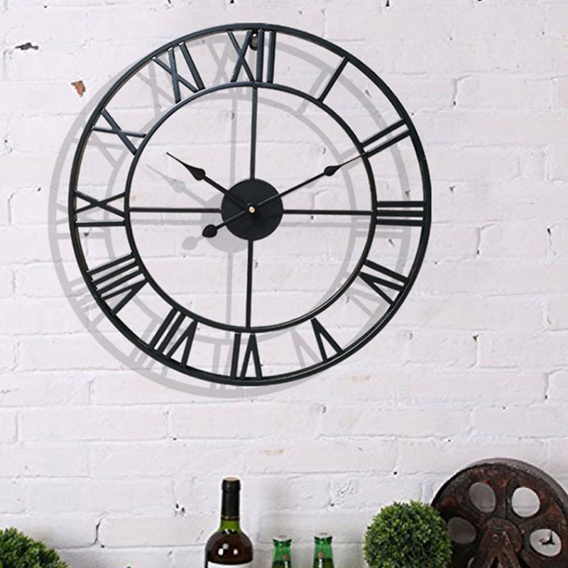 Us 17 46 Off Diy Large Wall Clock Sticker Metal Watches Roman Numeral Silent Non Ticking Decorative For Cafe Loft Hotel Bar Office Living In