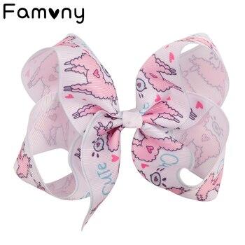 """6 """"słodkie dla dziewczynek duże Bowknot wstążka spinki do włosów Flamingo drukowane kokardy do włosów akcesoria do włosów dla dzieci wsuwki do włosów"""