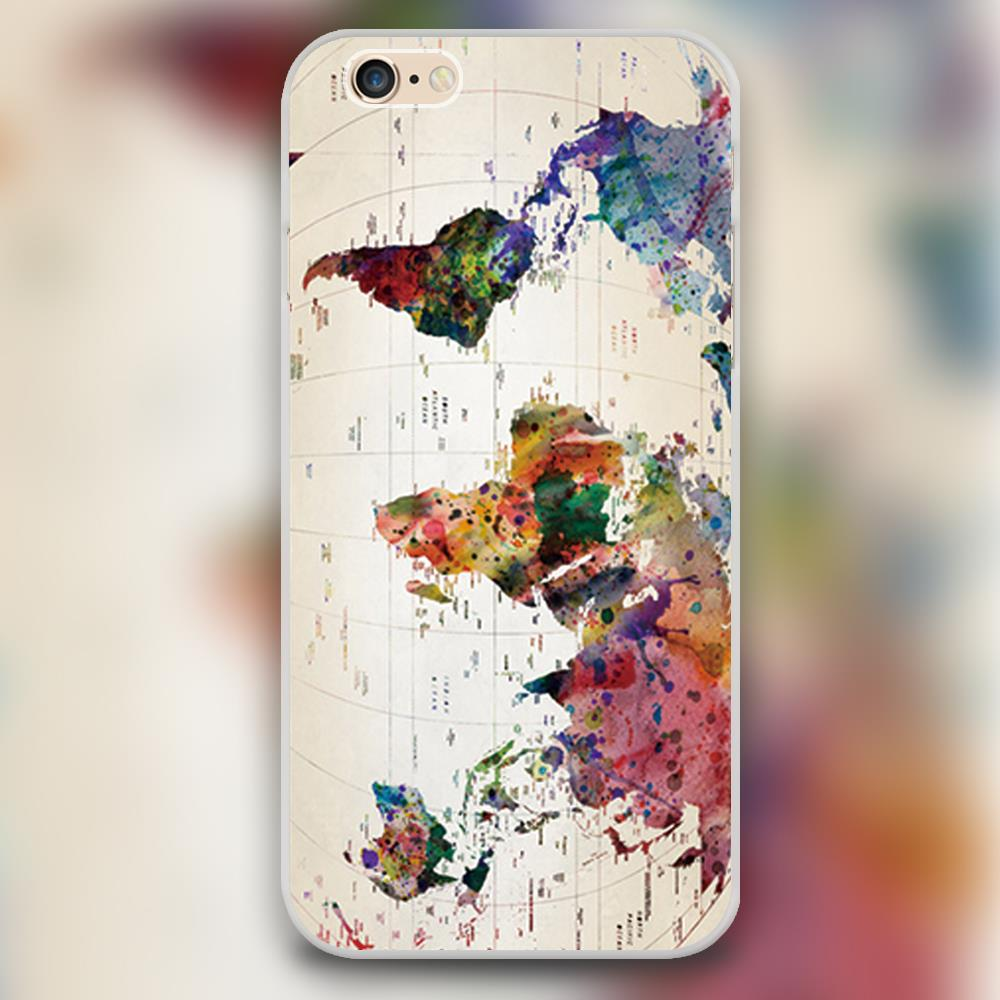 Iphone 6 World Map Case.Color World Map Design Black Skin Case Cover Cell Mobile Phone Cases