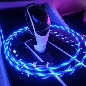 Image 5 - Cable brillante para carga de teléfono móvil, Cable de carga con luz LED, Micro USB tipo C para iPhone X, Samsung Galaxy S8, S9