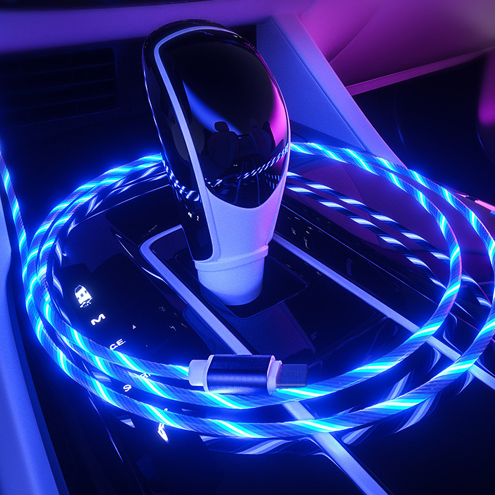 Glowing Cable Mobile Phone Charging Cables LED light Micro USB Type C Charger for iPhone X Samsung Galaxy S8 S9 Charge Wire Cord Mobile Phone Accessories Mobile Phone Cables Smartphones