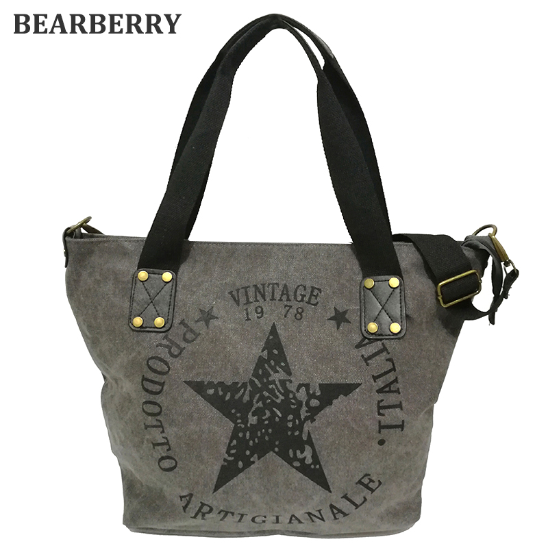 BEARBERRY <font><b>2017</b></font> BIG STAR PRINTING VINTAGE CANVAS <font><b>SHOULDER</b></font> <font><b>BAGS</b></font> Women Travel Tote Factory Outlet Plus Size Multifunctional Bolsos
