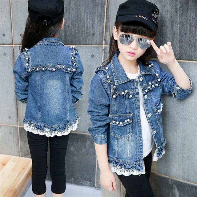 a2d4f7855 Children s Denim Jacket Floral Pearl Baby Girls Jeans Vintage ...
