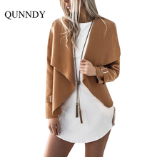 Qunndy Autumn Winter New Wool Blend Warm Women Coat Loose Casual Long Sleeve Overcoat Elegant Streetwear