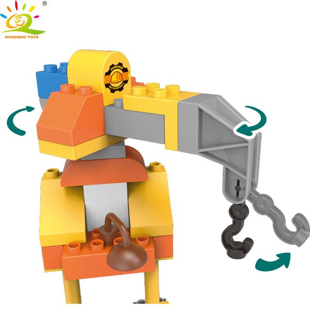 HUIQIBAO 128pcs Big Size Engineering Construction House Building Blocks Duploed City Elevator Bricks Toys For Children