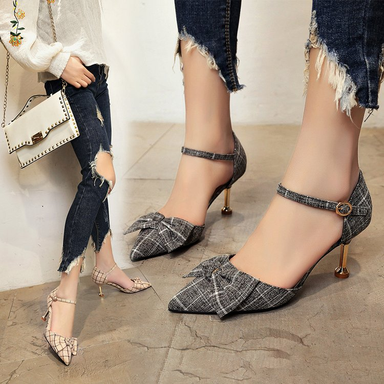New exquisite shallow mouth pointed shoes fashion wild women's shoes bow sweet cute high heels 36