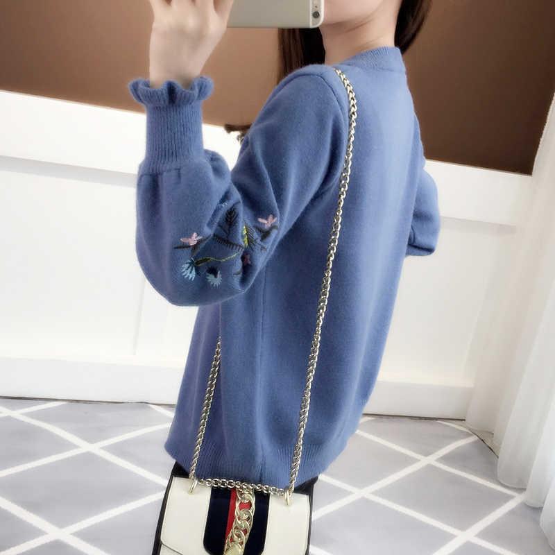 2019 одежда на осень рукав вязать кардиган вышивкой в виде листка лотоса свободные Женская одежда хан издание Свитер с молнией пальто