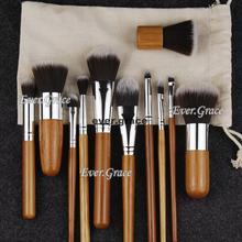 11pc Bamboo Makeup Brushes Set Foudation Face Powder Eye Shadow Shadding Brushes
