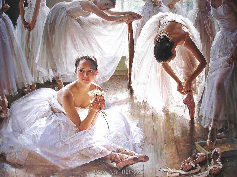 Skill China Painter 100% Handmade Ballet Dancer Oil Painting on Canvas High Quality Dance Room Figure Paintings for Home Decor