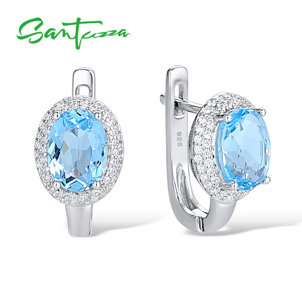 Silver Stud Earrings for Women Oval Sky Blue White Cubic Zirconia Ladies Earrings Pure 925 Sterling Silver Party Fashion Jewelry