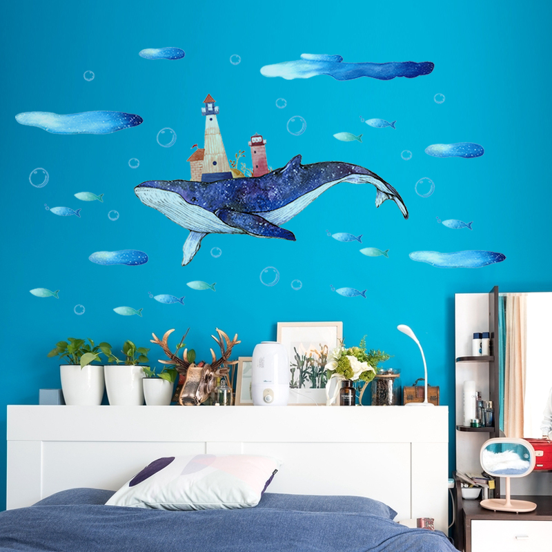 Intoxicated in blue sea Wall Decal Sticker Home Decor DIY Removable Art Vinyl Mural For Kids Room/Sofa/Cabinet QTM315