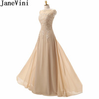 JaneVini Elegant Champagne Mother Bride Dress Chiffon Lace Long Beaded Women Formal Evening Dresses Floor Length Party Gowns